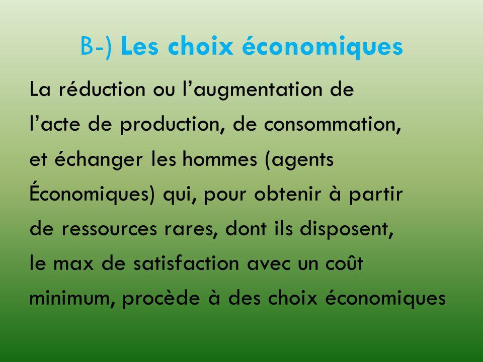 B-) Les choix économiques