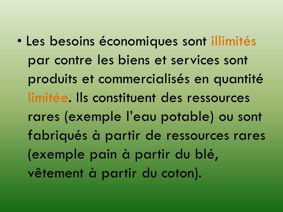 • Les besoins économiques sont illimités par contre les biens et services sont produits et commercialisés en quantité limitée.