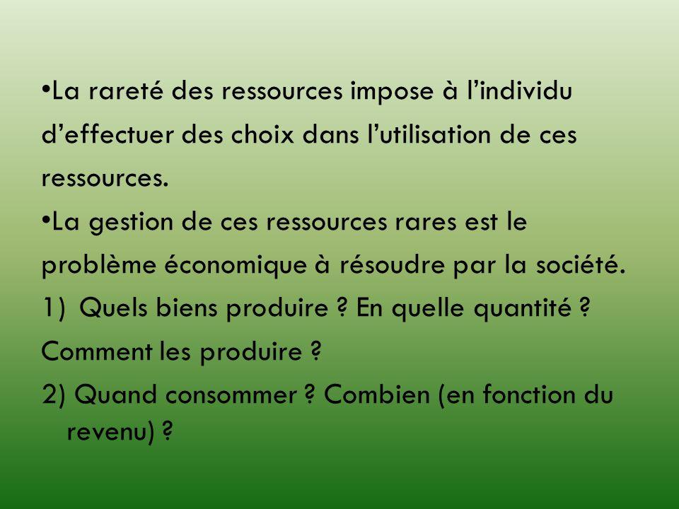 •La rareté des ressources impose à l'individu