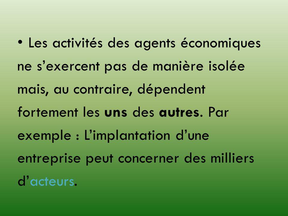 Les activités des agents économiques