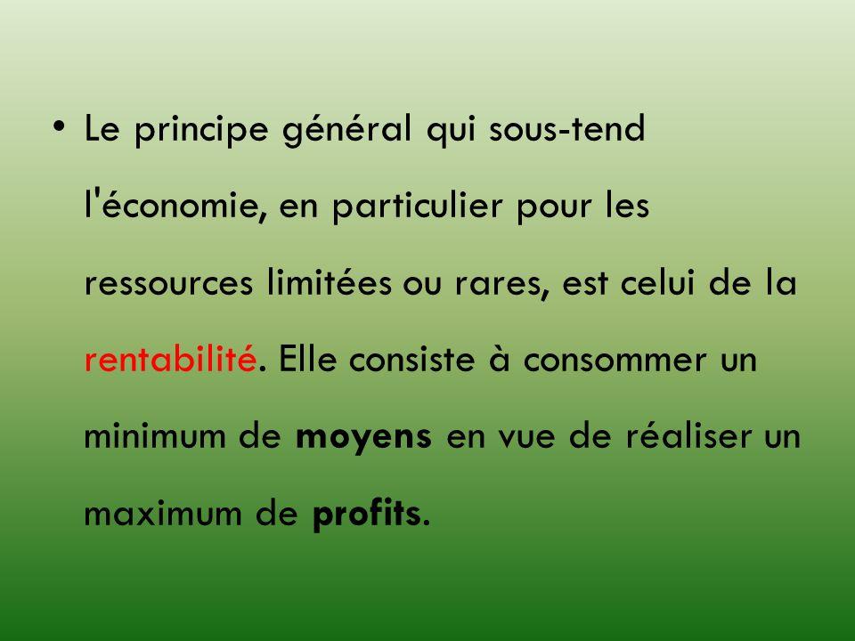 Le principe général qui sous-tend l économie, en particulier pour les ressources limitées ou rares, est celui de la rentabilité.