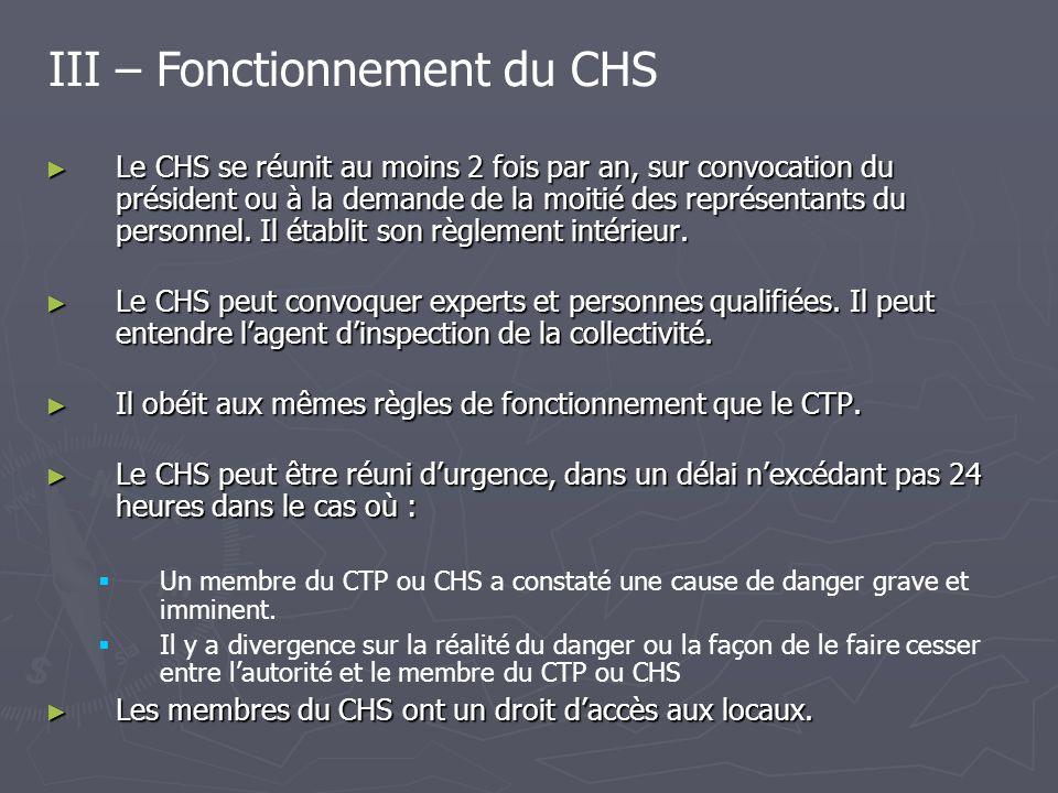 III – Fonctionnement du CHS