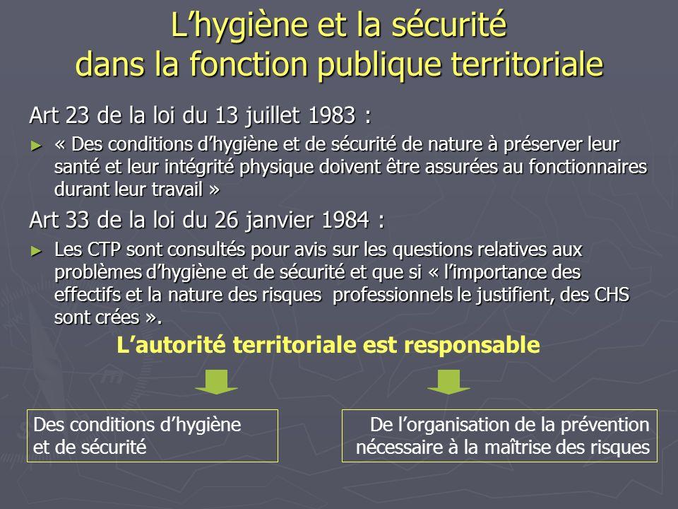 L'hygiène et la sécurité dans la fonction publique territoriale