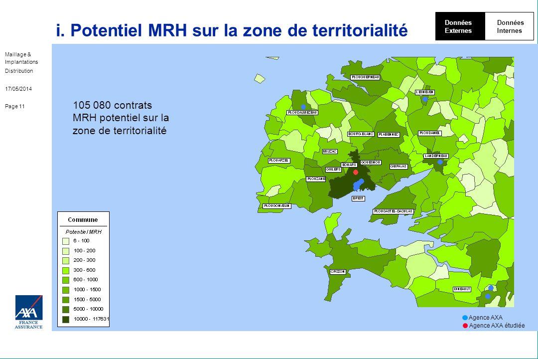 i. Potentiel MRH sur la zone de territorialité