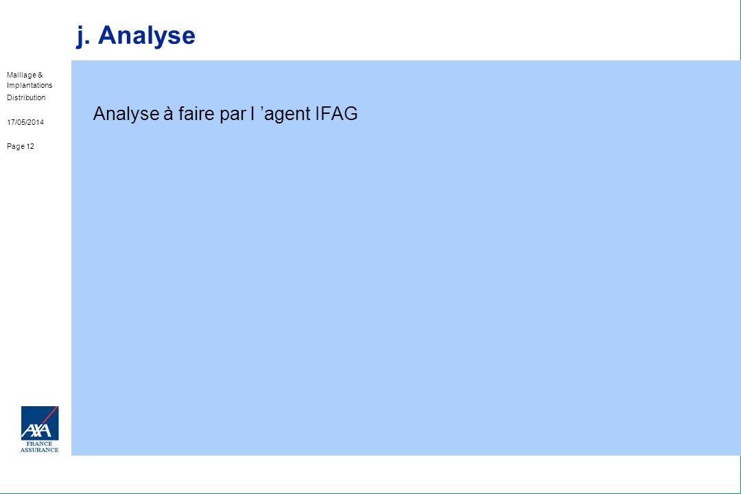Analyse à faire par l 'agent IFAG