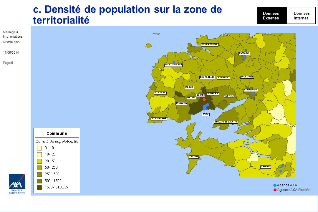 c. Densité de population sur la zone de territorialité