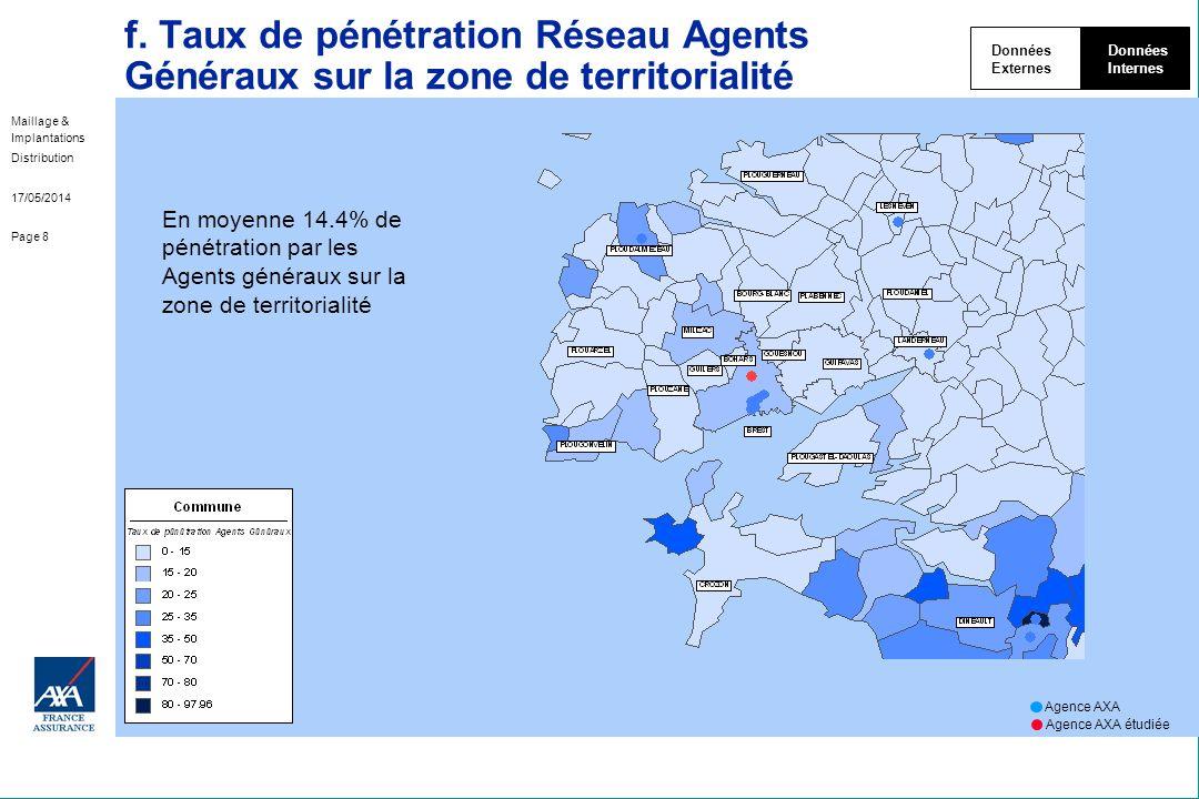 Données Externes. Internes. f. Taux de pénétration Réseau Agents Généraux sur la zone de territorialité.