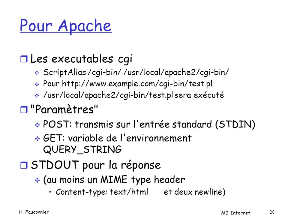 Pour Apache Les executables cgi Paramètres STDOUT pour la réponse