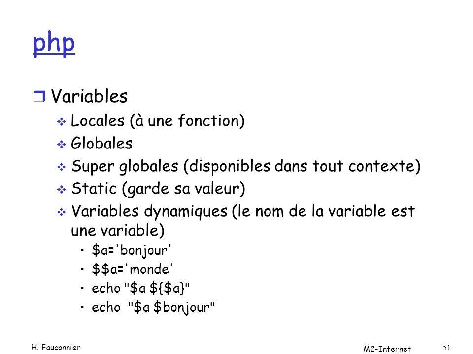php Variables Locales (à une fonction) Globales
