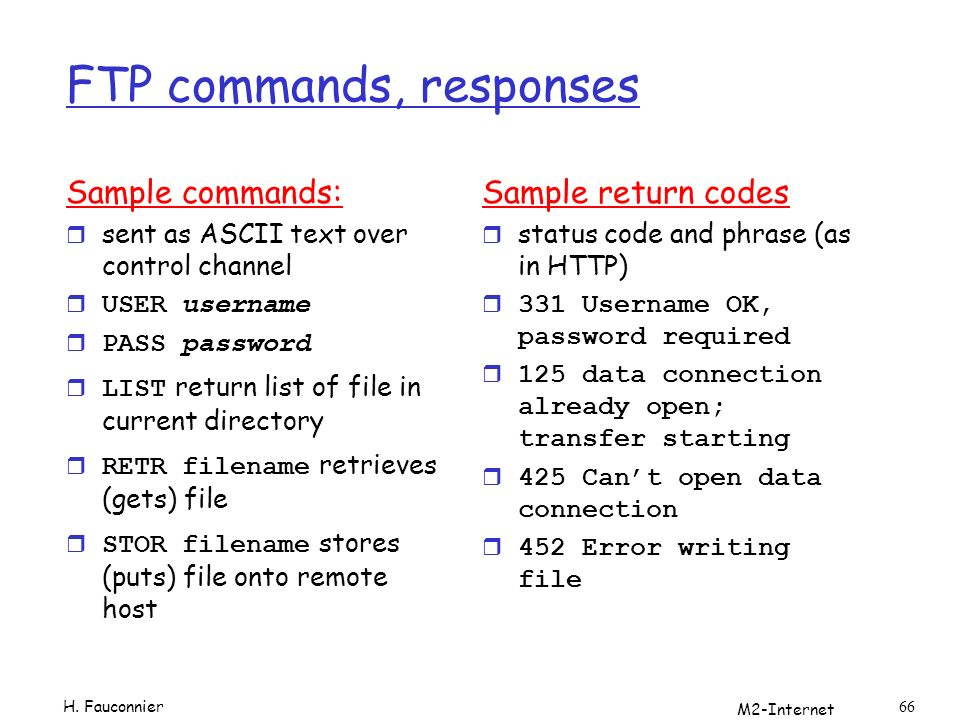FTP commands, responses