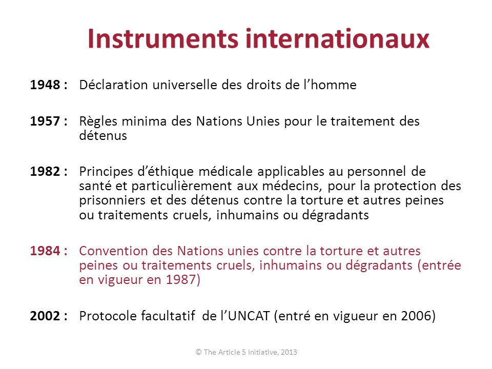 Instruments internationaux