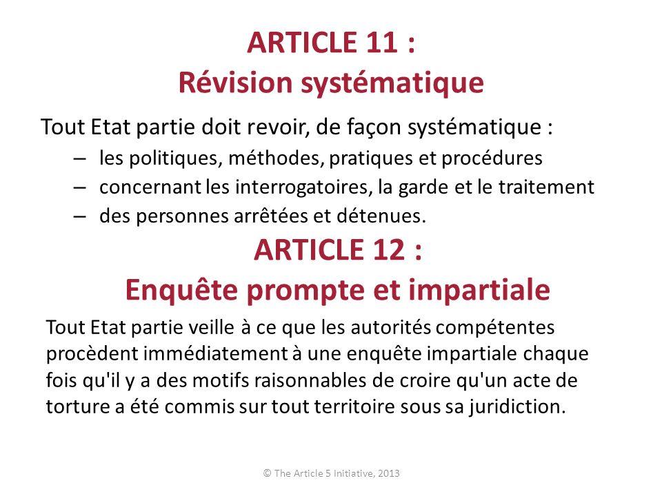 ARTICLE 11 : Révision systématique