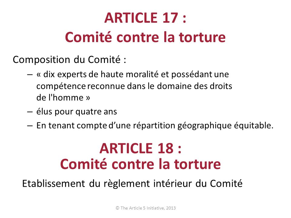 ARTICLE 17 : Comité contre la torture
