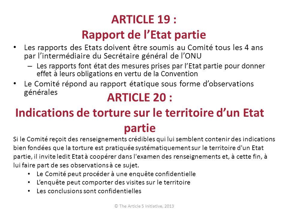 ARTICLE 19 : Rapport de l'Etat partie