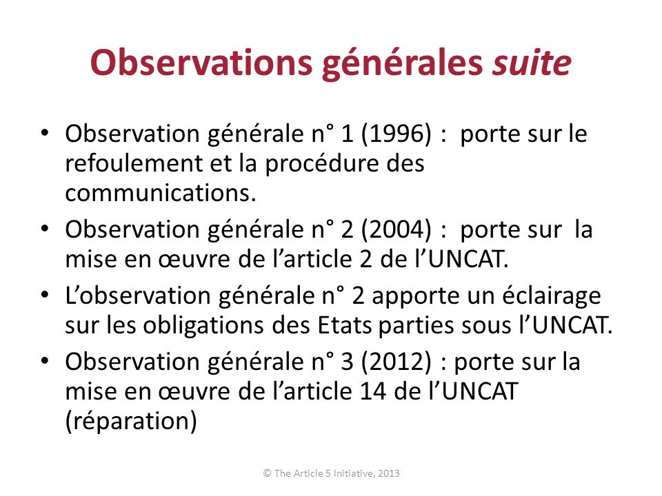 Observations générales suite