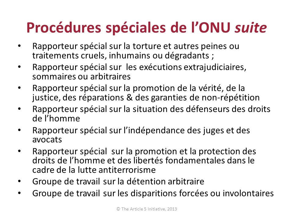 Procédures spéciales de l'ONU suite