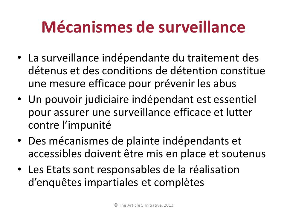 Mécanismes de surveillance