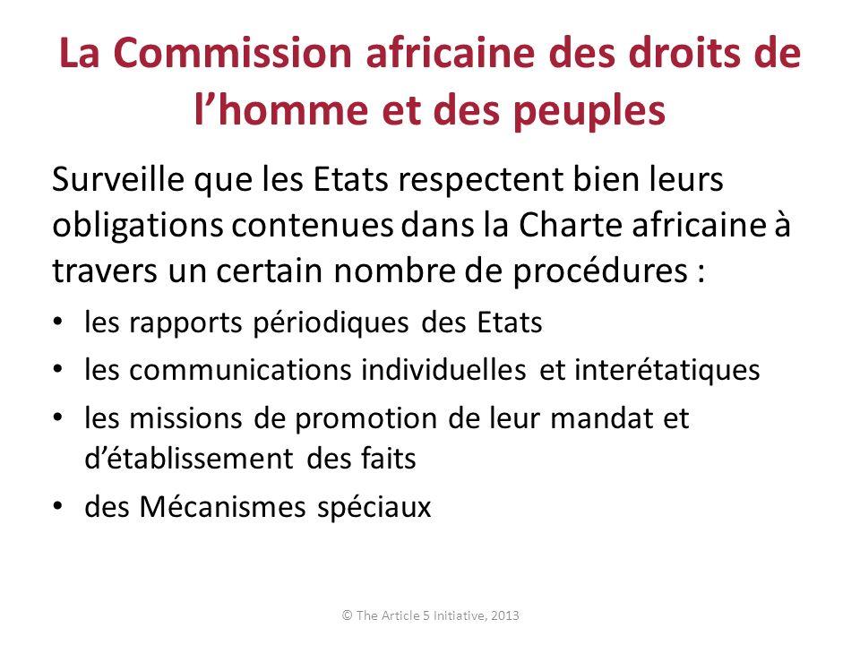 La Commission africaine des droits de l'homme et des peuples