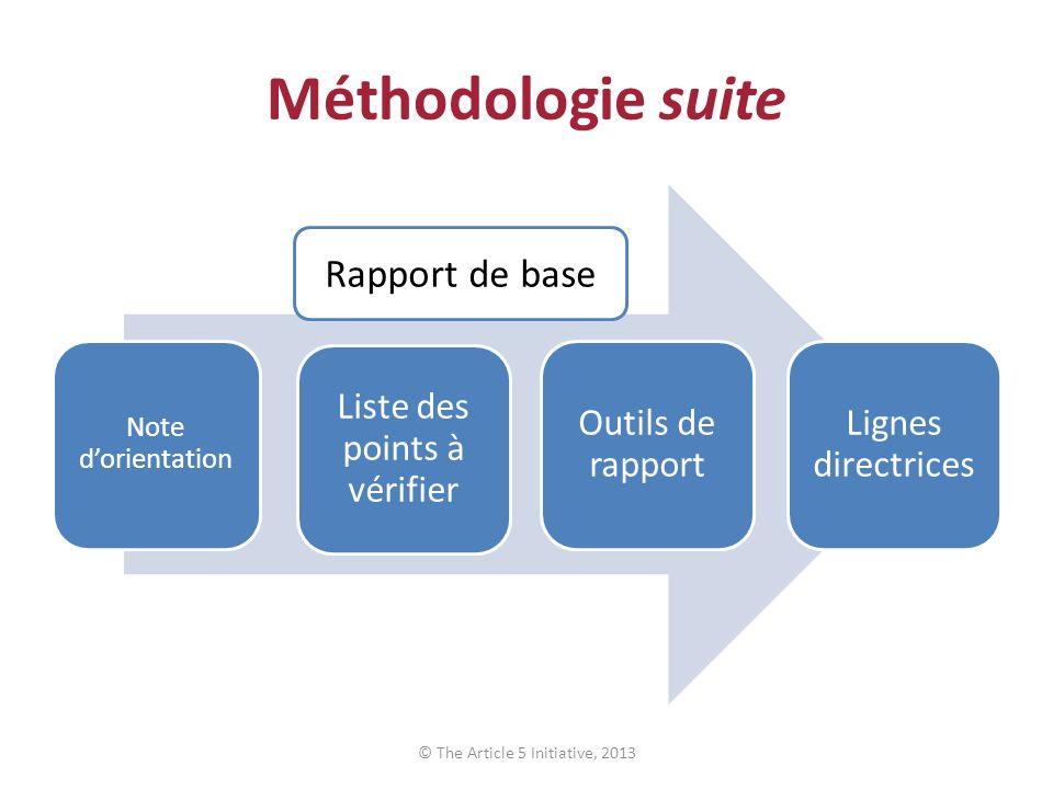 Méthodologie suite Rapport de base Liste des points à vérifier