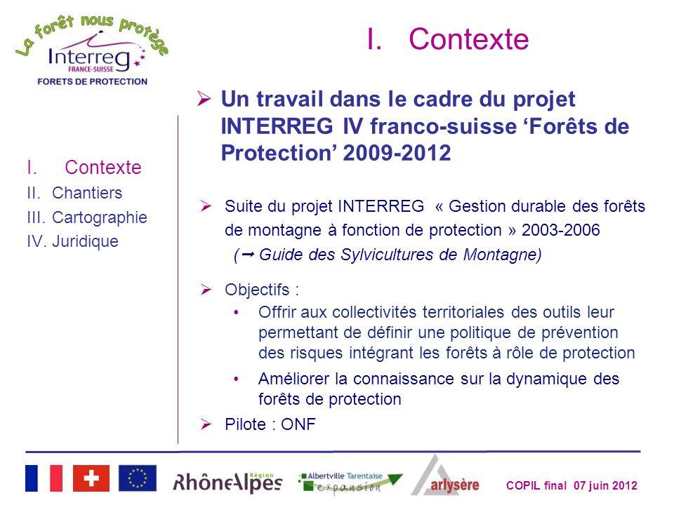 Contexte Un travail dans le cadre du projet INTERREG IV franco-suisse 'Forêts de Protection' 2009-2012.