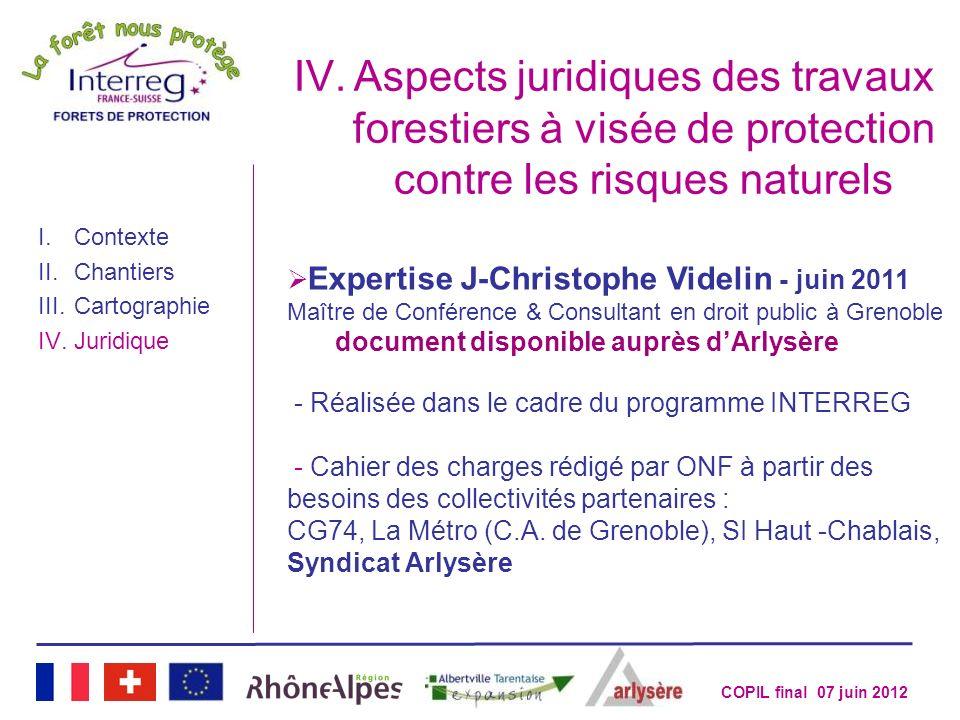Aspects juridiques des travaux forestiers à visée de protection contre les risques naturels