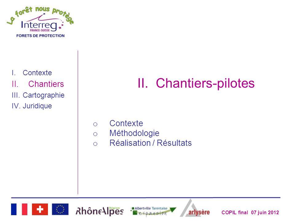 Chantiers-pilotes Chantiers Contexte Méthodologie
