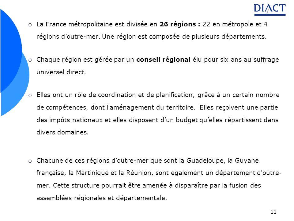 La France métropolitaine est divisée en 26 régions : 22 en métropole et 4 régions d'outre-mer. Une région est composée de plusieurs départements.