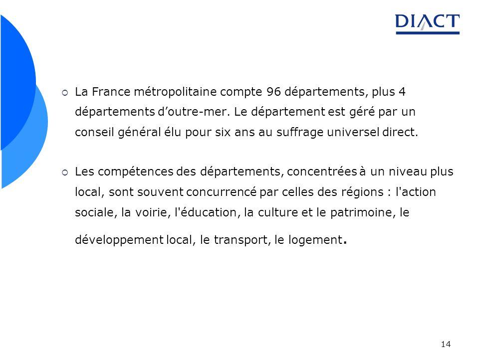 La France métropolitaine compte 96 départements, plus 4 départements d'outre-mer. Le département est géré par un conseil général élu pour six ans au suffrage universel direct.