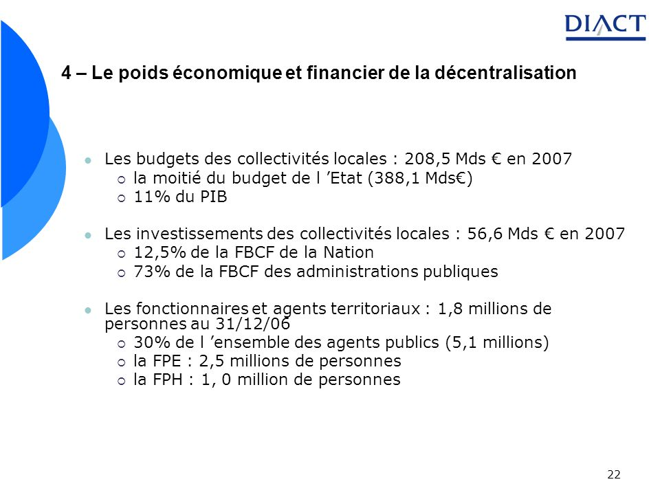 4 – Le poids économique et financier de la décentralisation