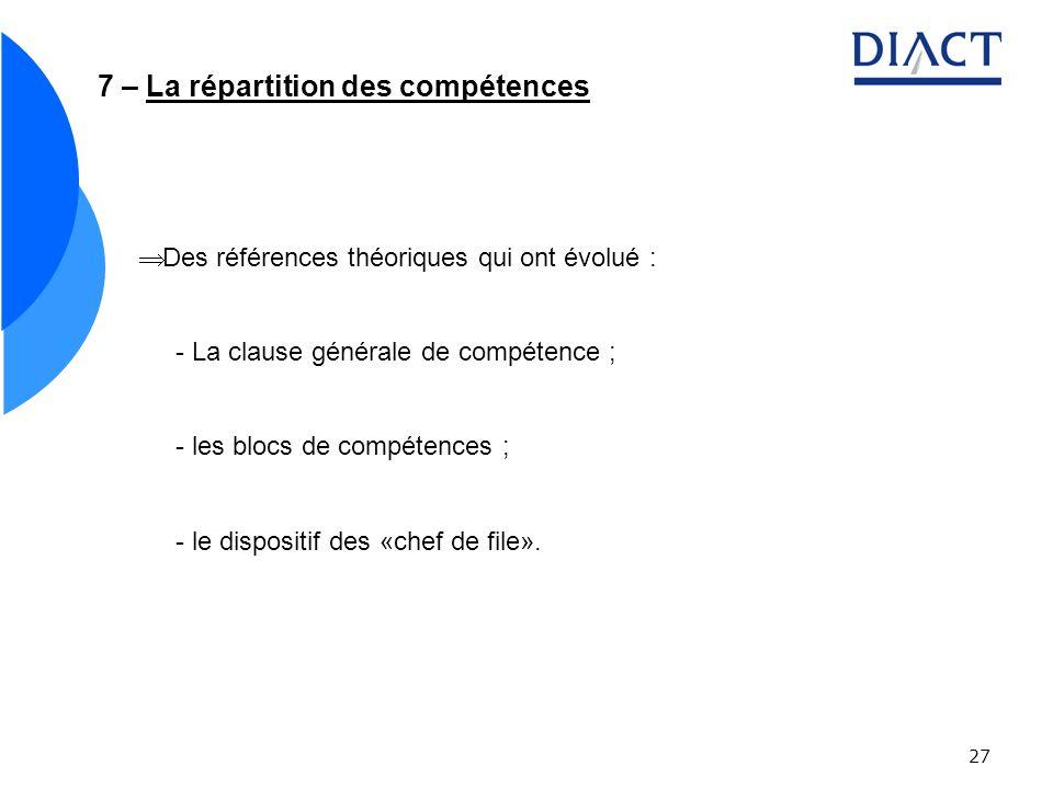 7 – La répartition des compétences