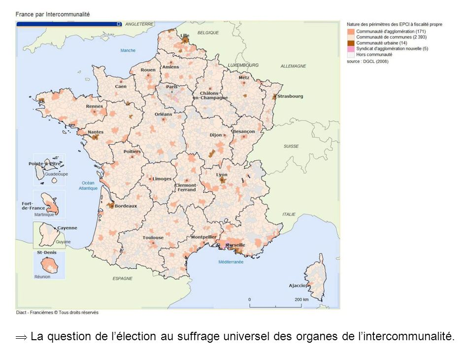  La question de l'élection au suffrage universel des organes de l'intercommunalité.