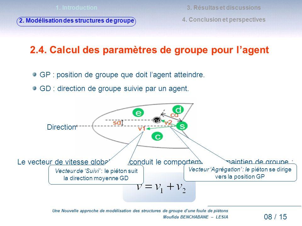 2.4. Calcul des paramètres de groupe pour l'agent
