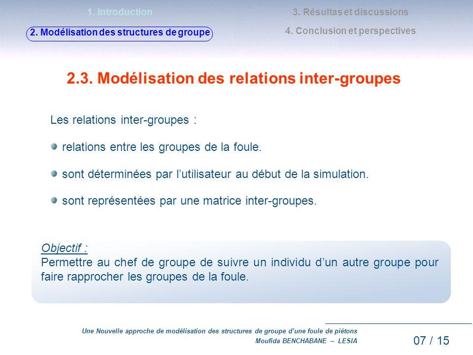 2.3. Modélisation des relations inter-groupes