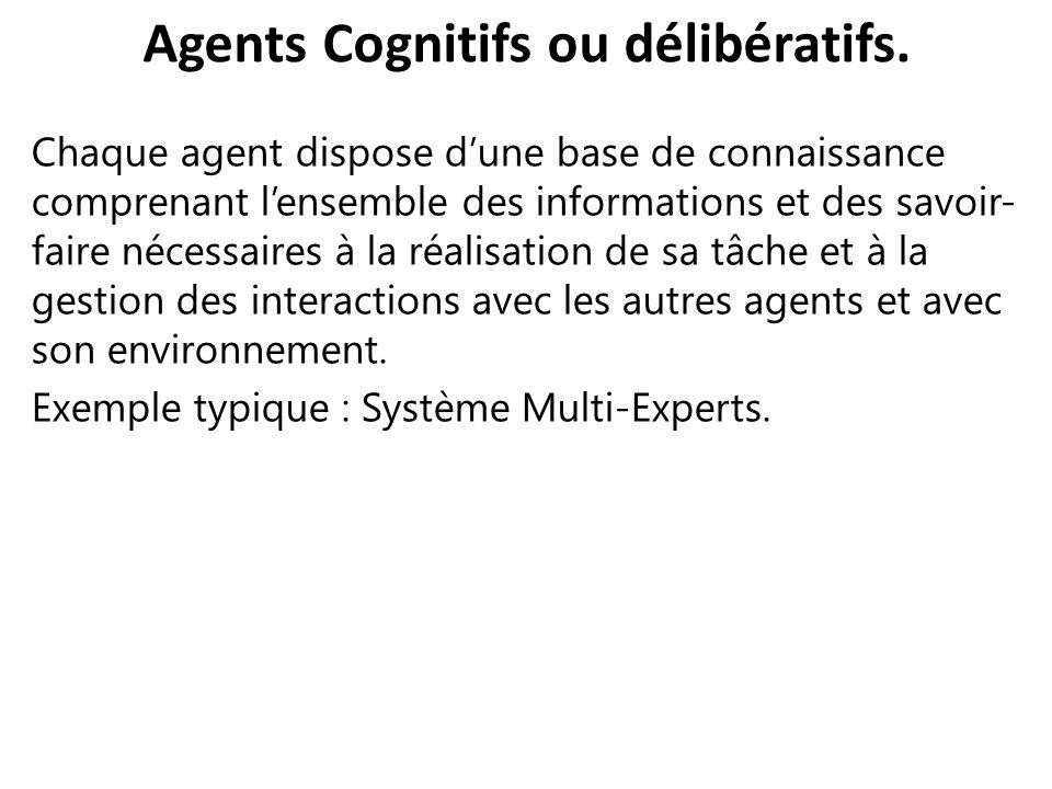 Agents Cognitifs ou délibératifs.