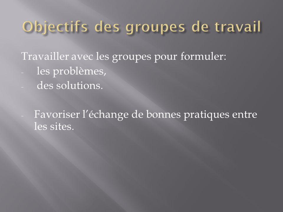 Objectifs des groupes de travail