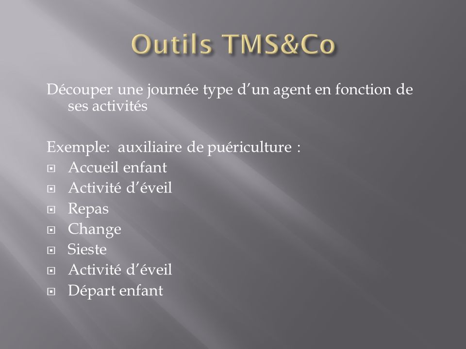 Outils TMS&Co Découper une journée type d'un agent en fonction de ses activités. Exemple: auxiliaire de puériculture :
