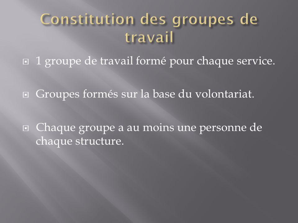 Constitution des groupes de travail