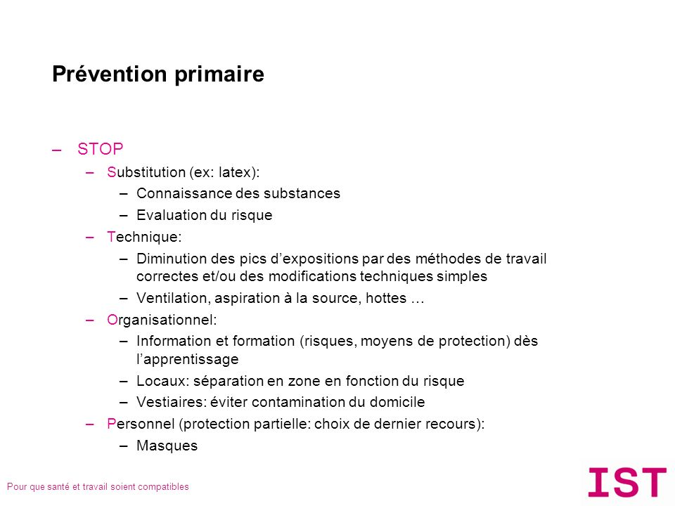 Prévention primaire STOP Substitution (ex: latex):