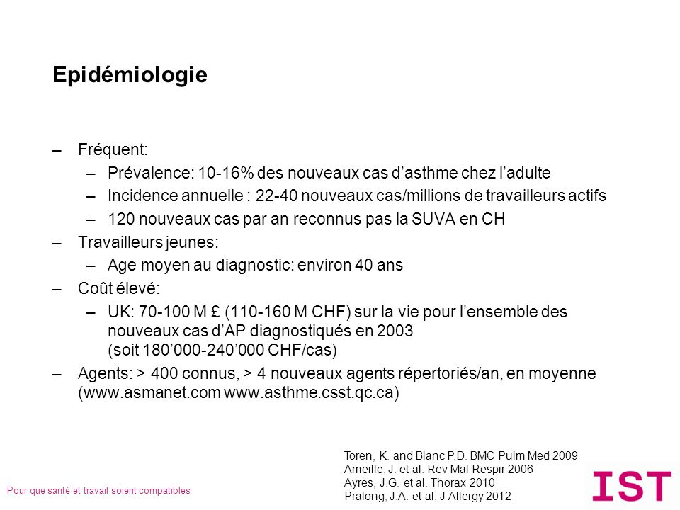 Epidémiologie Fréquent: