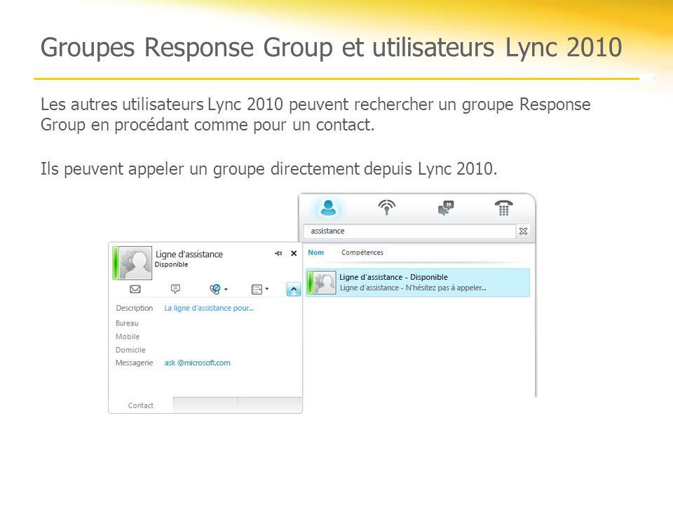 Groupes Response Group et utilisateurs Lync 2010