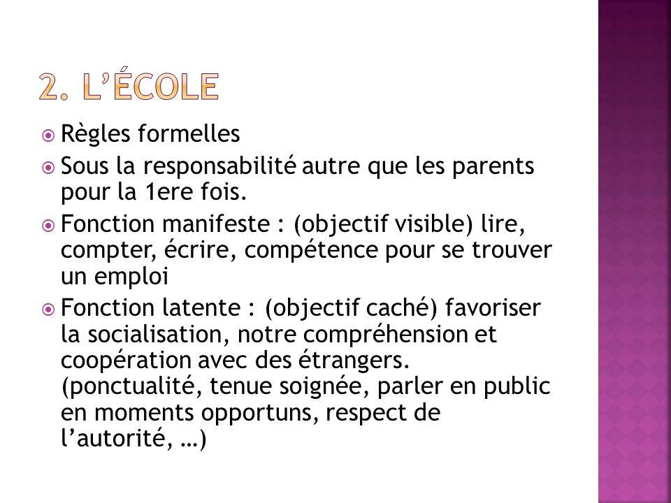 2. L'école Règles formelles