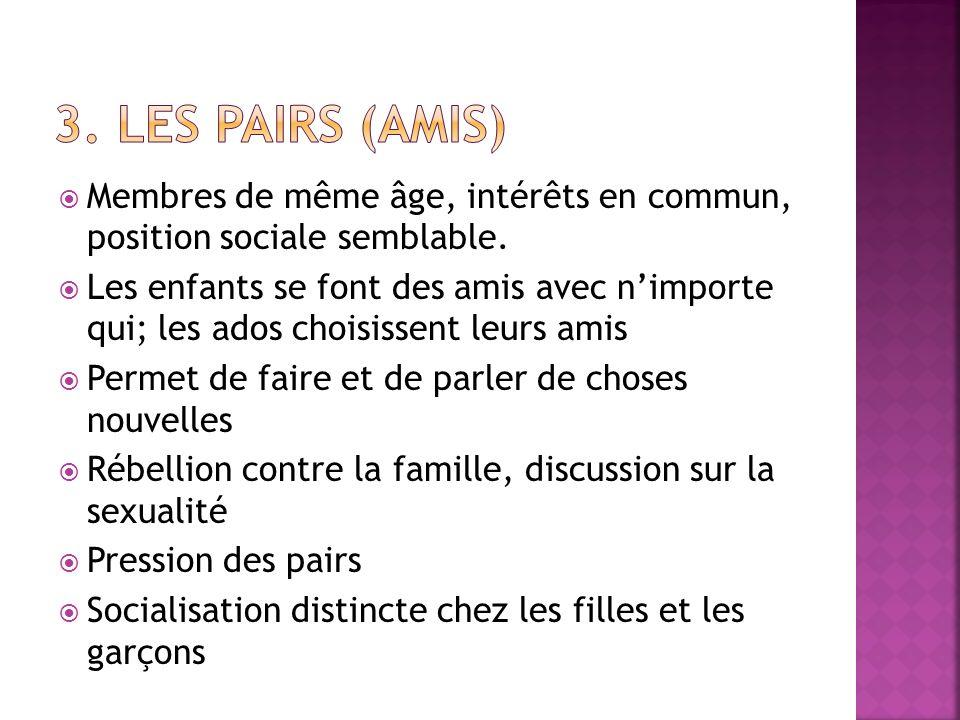 3. Les pairs (amis) Membres de même âge, intérêts en commun, position sociale semblable.