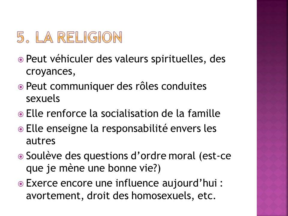 5. La religion Peut véhiculer des valeurs spirituelles, des croyances,