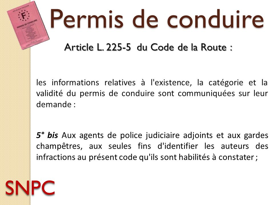Permis de conduire SNPC Article L. 225-5 du Code de la Route :