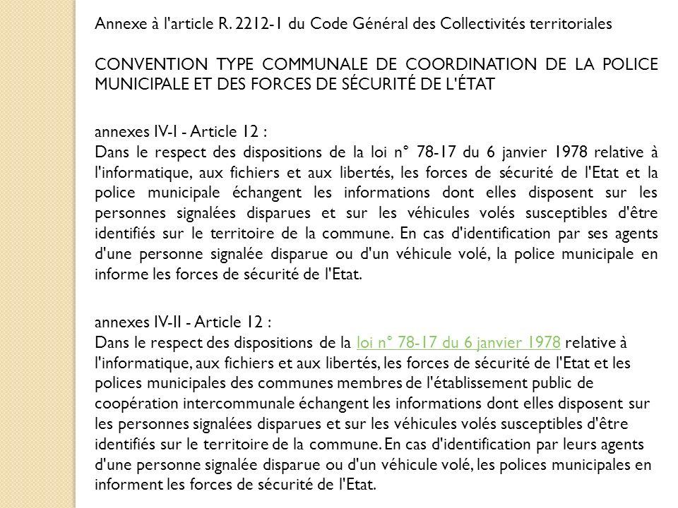 Annexe à l article R. 2212-1 du Code Général des Collectivités territoriales