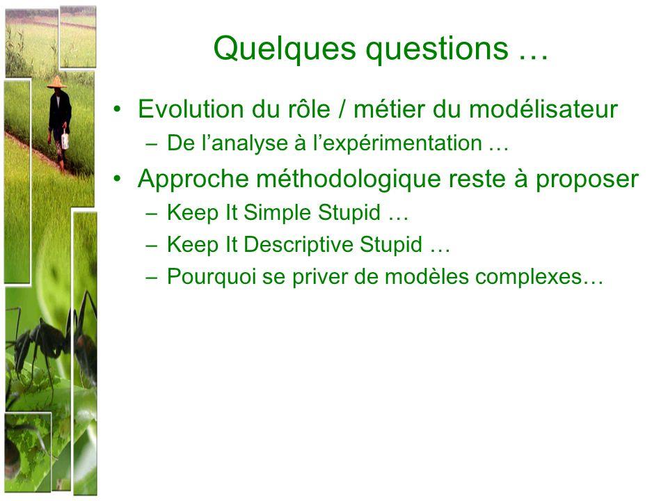 Quelques questions … Evolution du rôle / métier du modélisateur