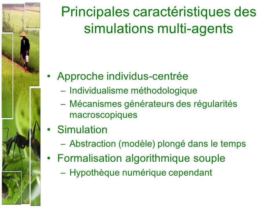 Principales caractéristiques des simulations multi-agents