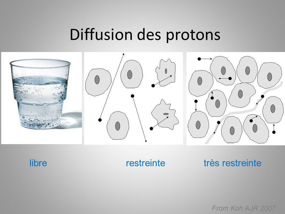Diffusion des protons libre restreinte très restreinte