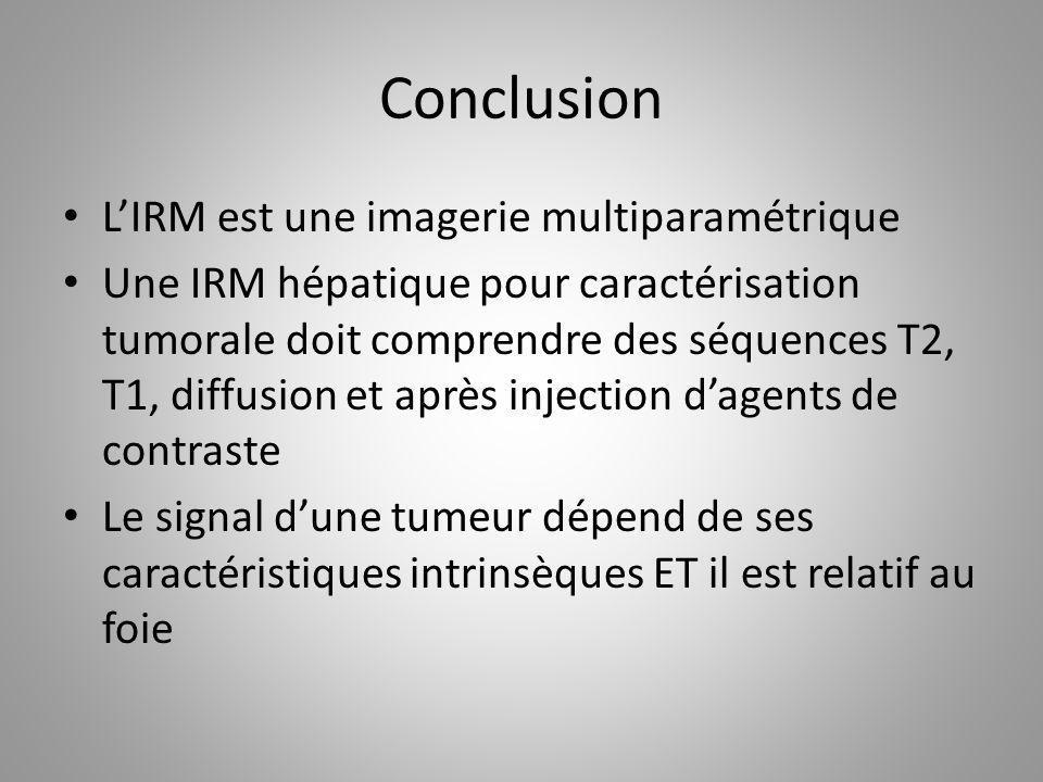 Conclusion L'IRM est une imagerie multiparamétrique