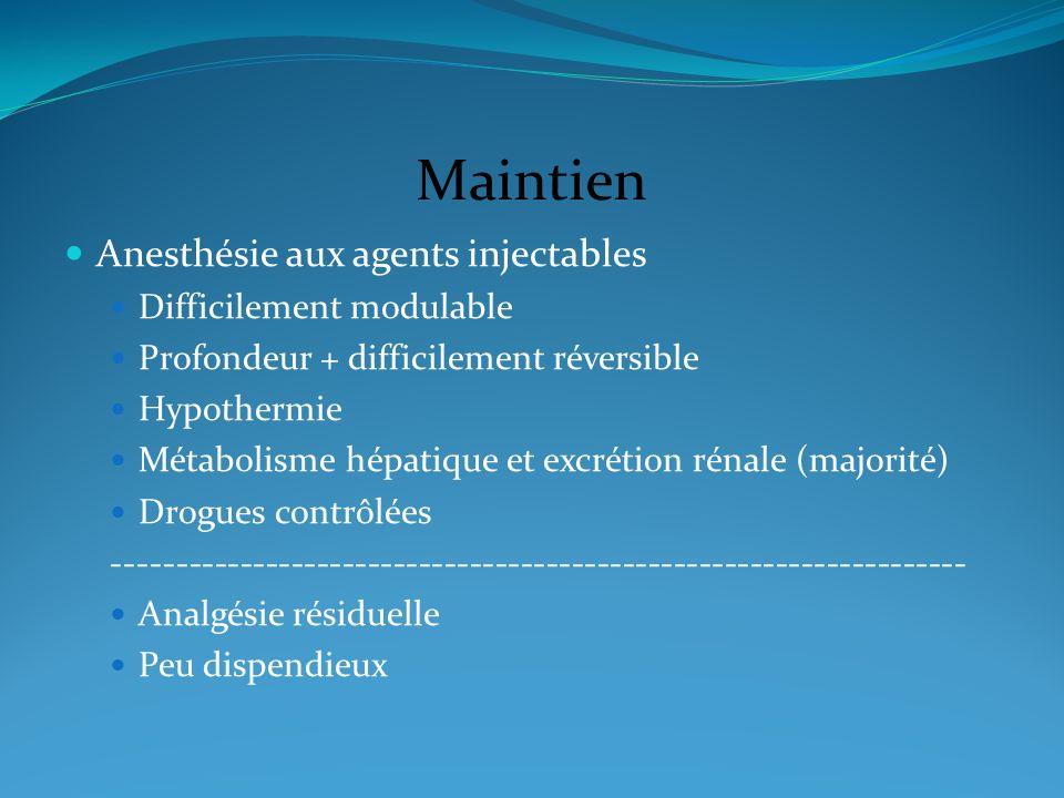 Maintien Anesthésie aux agents injectables Difficilement modulable